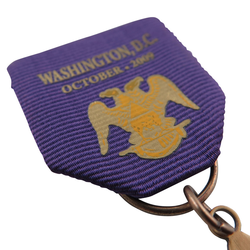 custom medal short ribbon with printed