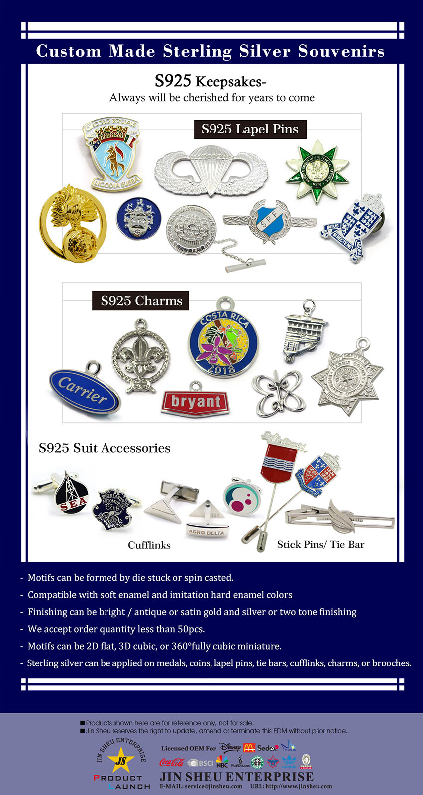 Custom Made Sterling Silver Souvenirs