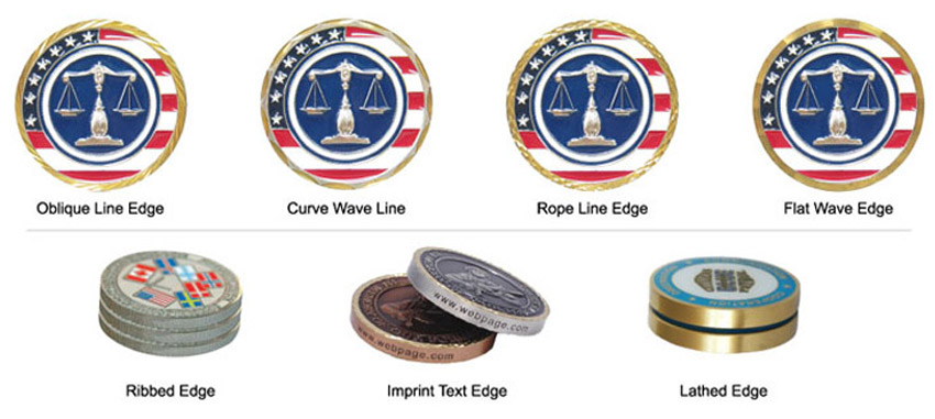 custom challenge coin edge patterns