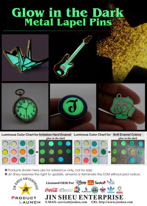 luminous glow in the dark lapel pins