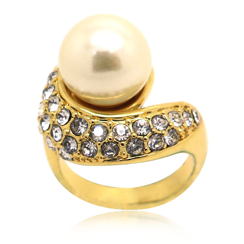 custom gold plated pearl ring