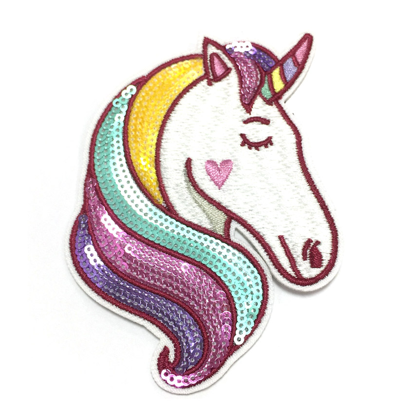 personalized unicorn sequin embroidery patch