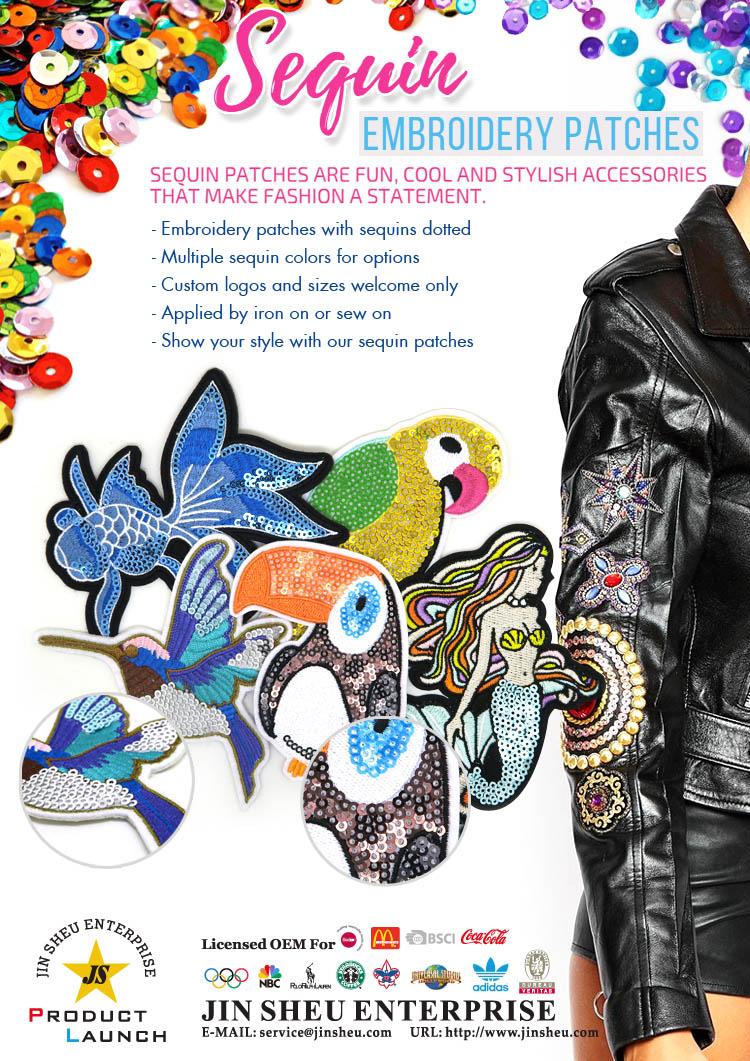 custom sequin patches