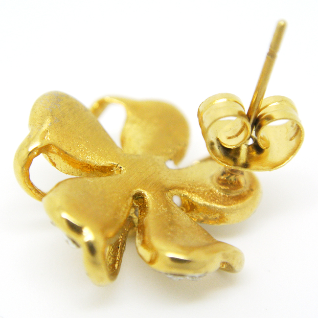 custom gold plated flower stud earring