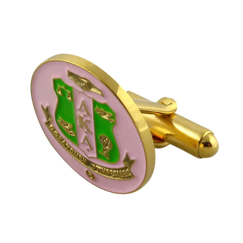 personalized soft enamel oval cufflinks