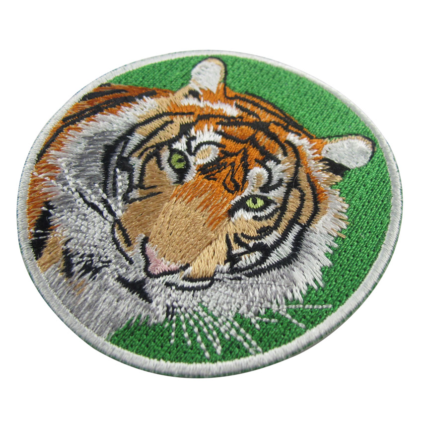 custom round tiger embroidered patch