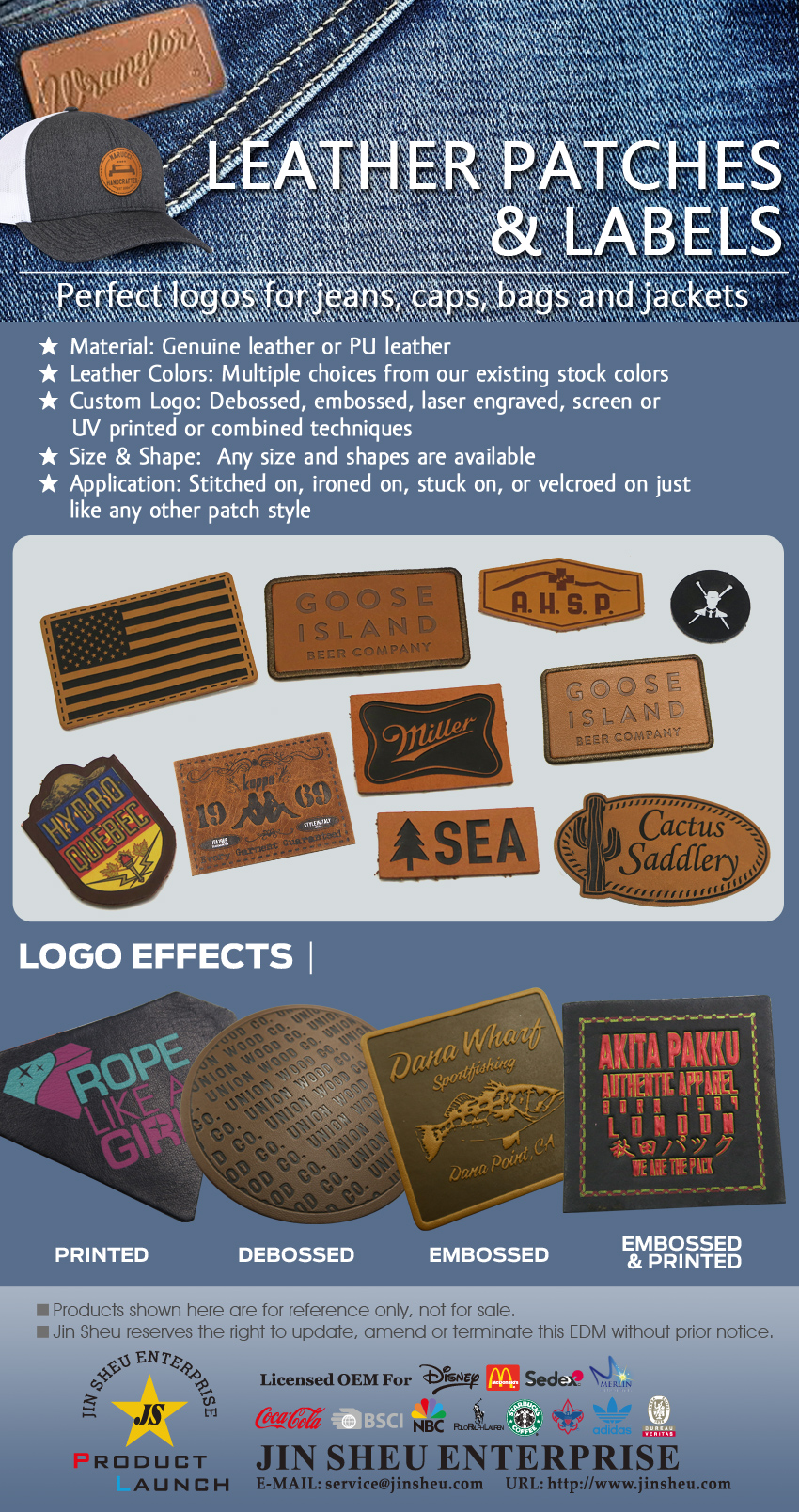 personalized leather jeans labels & patches