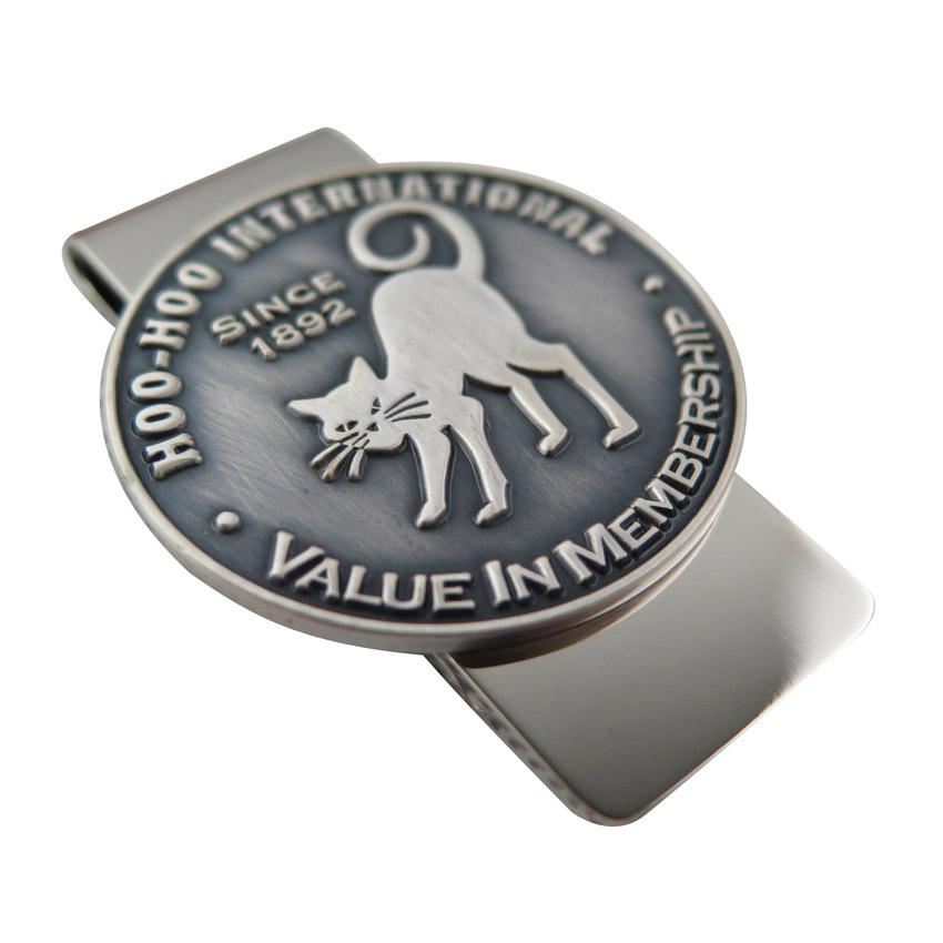 antique silver stamped emblem money clips