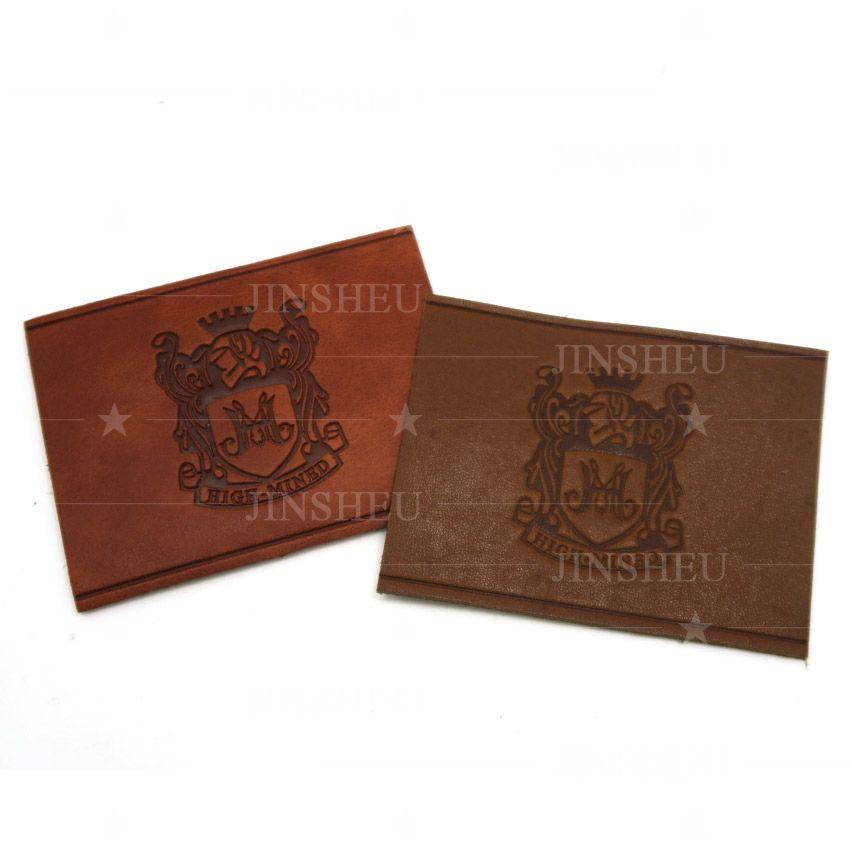 custom debossed logo leather labels