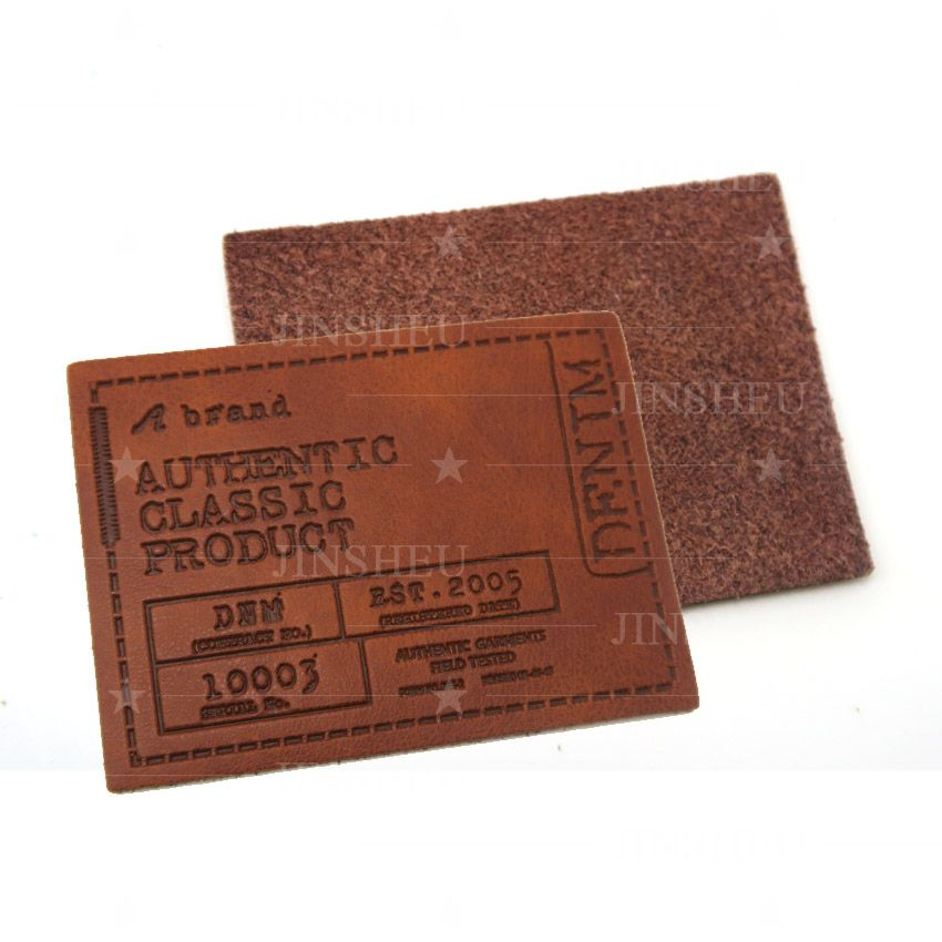 personalized embossed logo leather patches