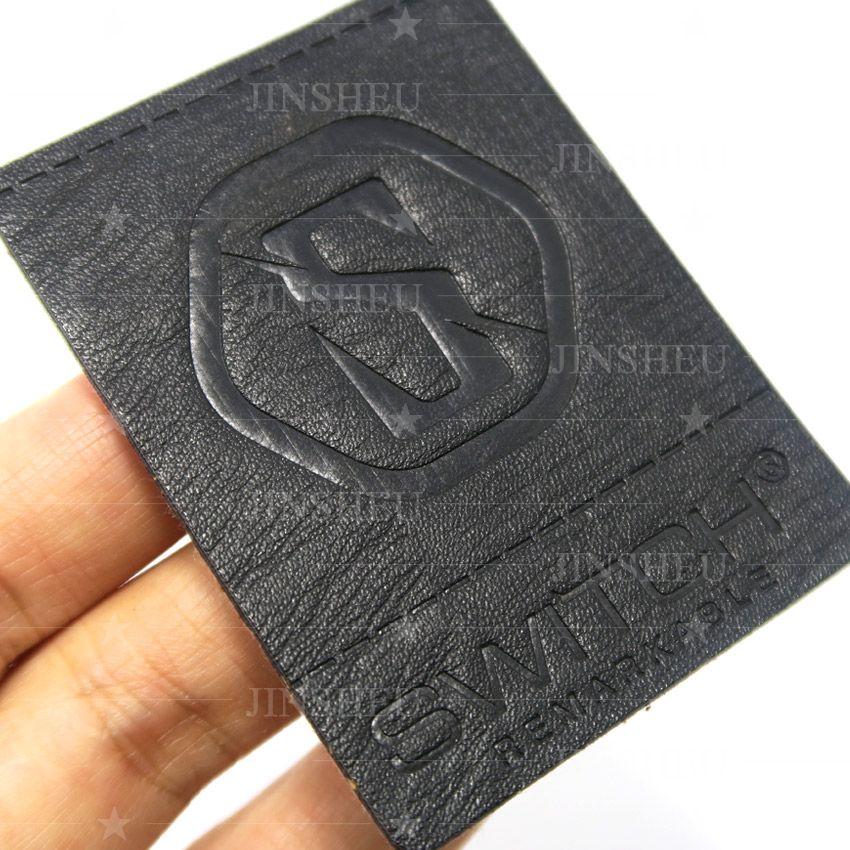 custom leather black patch
