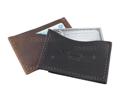 custom designed leather debossed logo card holder case