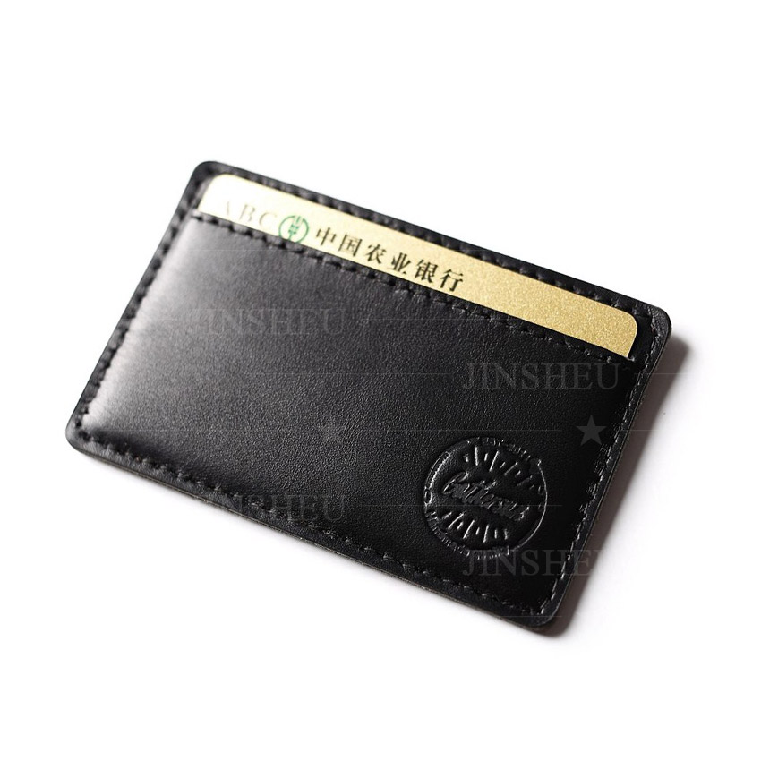 personalized simple one slot leather card holder