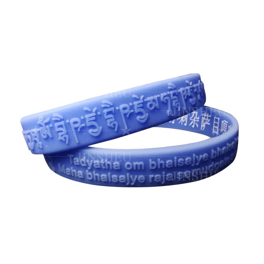 custom made Buddhism mantra silicone wristbands