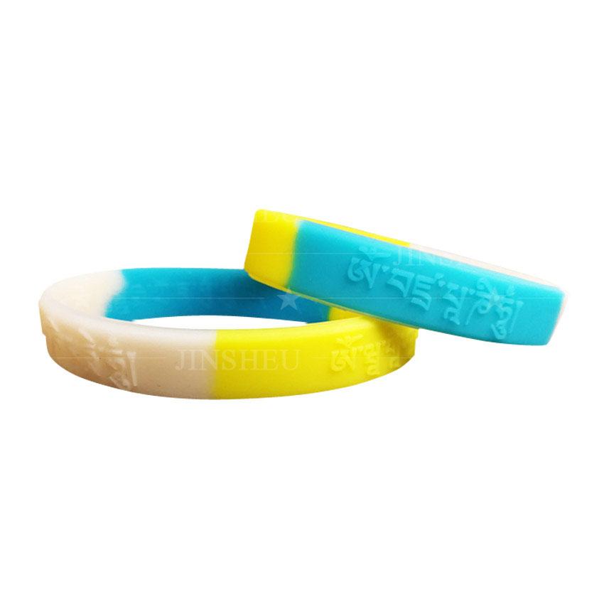 custom made silicone embossed mantra logo wristbands